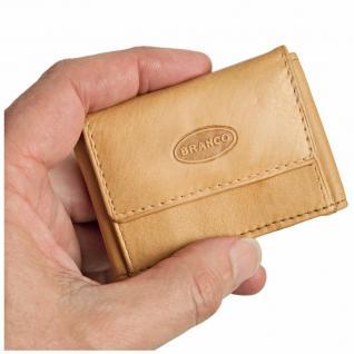 Branco - Sehr Kleine Geldbörse / Mini Portemonnaie Größe XS aus Leder, Natur-Beige, Modell 103