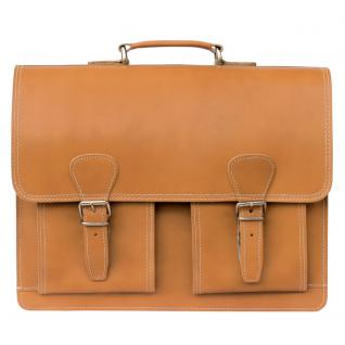 Hamosons - Klassische Aktentasche / Lehrertasche Größe L aus Leder, Cognac-Braun, Modell 600