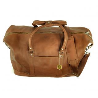 Jahn-Tasche - Große Reisetasche / Weekender Größe L aus Nappa-Leder, Cognac-Braun, Modell 697 - Vorschau 3