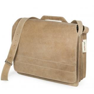 Jahn-Tasche - Große Aktentasche / Lehrertasche Größe XL aus Büffel-Leder, Creme-Beige, Modell 676