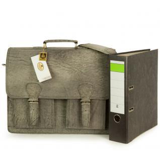 Hamosons - Klassische Aktentasche / Lehrertasche Größe L aus Büffel-Leder, Dunkel-Grau, Modell 600 - Vorschau 3