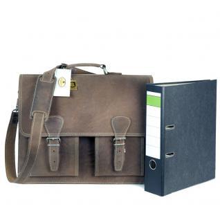 Hamosons - Klassische Aktentasche / Lehrertasche Größe L aus Büffel-Leder, Matt-Braun, Modell 600 - Vorschau 2