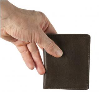 Hamosons - Kleine Geldbörse / Portemonnaie Größe S für Herren aus Leder, Hochformat, Braun, Modell 105