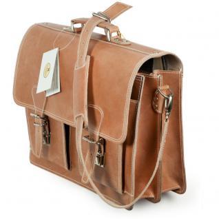 Hamosons - Klassische Aktentasche / Lehrertasche Größe L aus Leder, Natur-Braun two-tone, Modell 600 - Vorschau 3