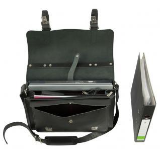 Hamosons - Mittel-Große Aktentasche / Lehrertasche Größe M aus Leder, Schwarz, Modell 605 - Vorschau 3