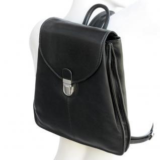 Branco - Kleiner Lederrucksack Größe S / Rucksack-Handtasche aus Leder, Schwarz, Modell br96