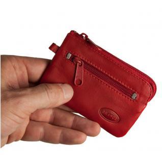 Branco - Kleines Schlüsseletui / Schlüsselmäppchen aus Leder, Rot, Modell 019