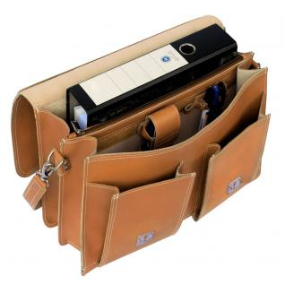Hamosons - Klassische Aktentasche / Lehrertasche Größe L aus Leder, Cognac-Braun, Modell 600 - Vorschau 2