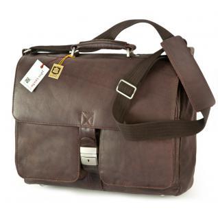 Jahn-Tasche - Elegante Aktentasche Größe L / Laptoptasche bis 15, 6 Zoll, aus Nappa-Leder, Braun, Modell 750