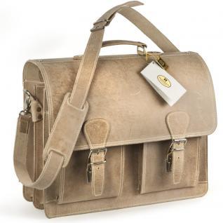 Hamosons - Klassische Aktentasche / Lehrertasche Größe L aus Büffel-Leder, Creme-Beige, Modell 600