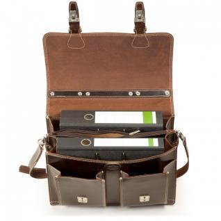 Hamosons - Klassische Aktentasche / Lehrertasche Größe L aus Leder, Braun, Modell 600 - Vorschau 3