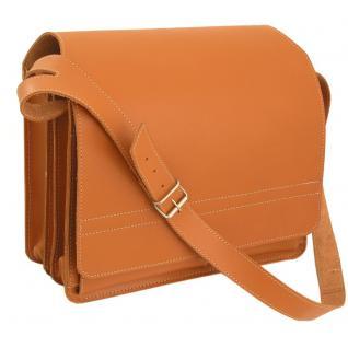 Jahn-Tasche - Große Aktentasche / Lehrertasche Größe XL aus Leder, Cognac-Braun, Modell 675