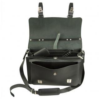 Hamosons - Mittel-Große Aktentasche / Lehrertasche Größe M aus Leder, Schwarz, Modell 605 - Vorschau 2