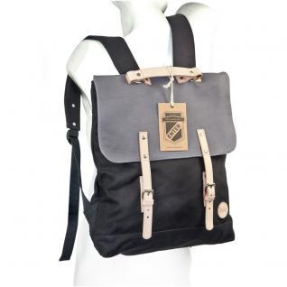 Enter - Großer stylischer Canvas Rucksack / Vintage Rucksack Größe L, Schwarz mit Grau, helles Leder, Modell 1304 - Vorschau 1