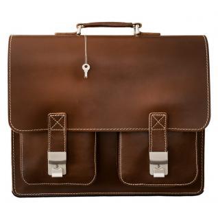 Hamosons - Große Aktentasche / Lehrertasche Größe XL aus Leder, Braun, Modell 690 - Vorschau 2