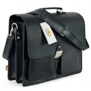 Hamosons - Klassische Aktentasche / Lehrertasche Größe L aus Leder, Schwarz, Modell 651
