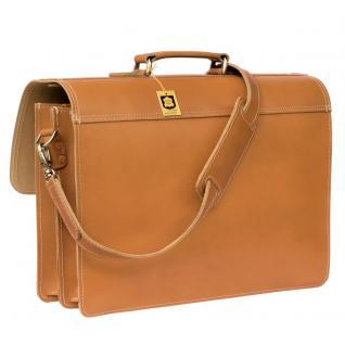 Hamosons - Klassische Aktentasche / Lehrertasche Größe L aus Leder, Cognac-Braun, Modell 600 - Vorschau 5