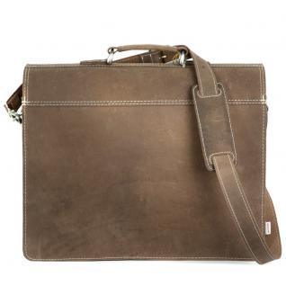 Hamosons - Klassische Aktentasche / Lehrertasche Größe L aus Büffel-Leder, Matt-Braun, Modell 600 - Vorschau 5
