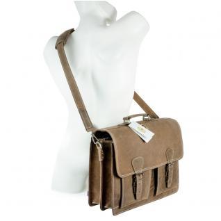 Hamosons - Klassische Aktentasche / Lehrertasche Größe L aus Büffel-Leder, Matt-Braun, Modell 600 - Vorschau 4