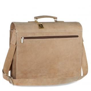 Hamosons - Große Aktentasche / Lehrertasche Größe XL aus Büffel-Leder, Creme-Beige, Modell 690 - Vorschau 4