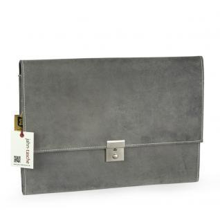 Jahn-Tasche - A4 Aktenmappe / Dokumentenmappe, aus Büffel-Leder, Grau, Modell 1022