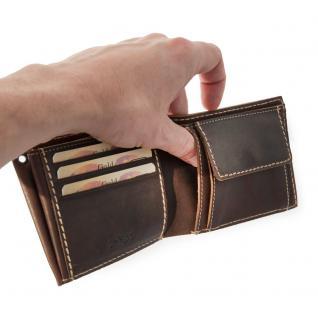 Branco - Mittel-Große Geldbörse / Portemonnaie Größe M für Herren aus Leder, Querformat, Braun, Modell 14405 - Vorschau 4