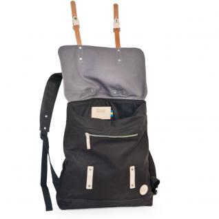 Enter - Großer stylischer Canvas Rucksack / Vintage Rucksack Größe L, Schwarz mit Grau, helles Leder, Modell 1304 - Vorschau 3