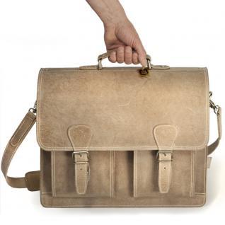 Hamosons - Klassische Aktentasche / Lehrertasche Größe L aus Büffel-Leder, Creme-Beige, Modell 600 - Vorschau 4