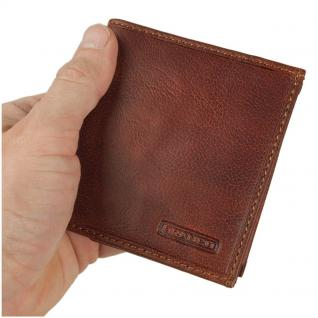 Branco - Kleine Geldklammer Geldbörse / Dollarclip Portemonnaie Größe S für Herren aus Leder, Cognac-Braun, Modell 16795
