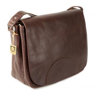 Hamosons - Damen-Handtasche Größe M / Umhängetasche im Retro-Look aus geöltem Leder, Kastanien-Braun, Modell 577