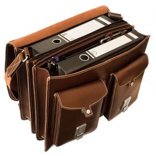 Hamosons - Große Aktentasche / Lehrertasche Größe XL aus Leder, Braun, Modell 690