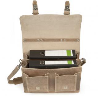 Hamosons - Klassische Aktentasche / Lehrertasche Größe L aus Büffel-Leder, Creme-Beige, Modell 600 - Vorschau 2