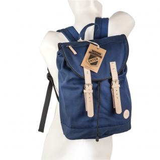 Enter - Großer stylischer Canvas Rucksack / Seesack Rucksack Größe L, Navy Blau, helles Leder, Modell 1511