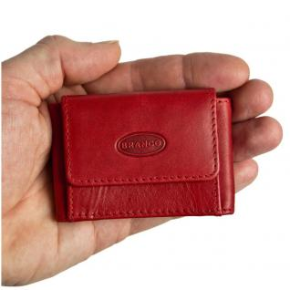 Branco - Sehr Kleine Geldbörse / Mini Portemonnaie Größe XS aus Leder, Rot, Modell 103