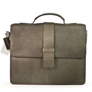Harolds - Schmale Aktentasche / Aktenmappe Größe S aus Leder, Taupe-Grau, Modell 293835