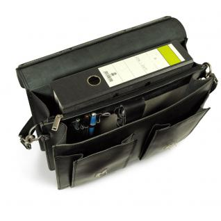 Hamosons - Klassische Aktentasche / Lehrertasche Größe L aus Leder, Schwarz, Modell 600