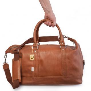 Jahn-Tasche - Kleine Reisetasche / Weekender Größe S aus Nappa-Leder, Cognac-Braun, Modell 698