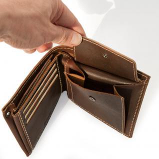 Branco - Mittel-Große Geldbörse / Portemonnaie Größe M für Herren aus Leder, Querformat, Braun, Modell 14405 - Vorschau 3