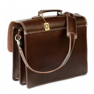Hamosons - Klassische Aktentasche / Lehrertasche Größe L aus Leder, Braun, Modell 600 - Vorschau 5