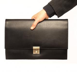 Jahn-Tasche - A4 Aktenmappe / Dokumentenmappe, aus Leder, Schwarz, Modell 1022