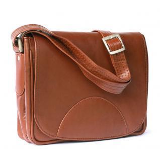 Hamosons - Kleine Damen-Handtasche Größe XS / Umhängetasche aus geöltem Leder, Kastanien-Braun, Modell 575 - Vorschau 2