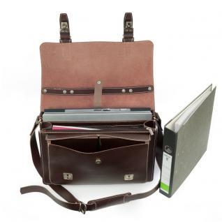 Hamosons - Mittel-Große Aktentasche / Lehrertasche Größe M aus Leder, Braun, Modell 605 - Vorschau 3
