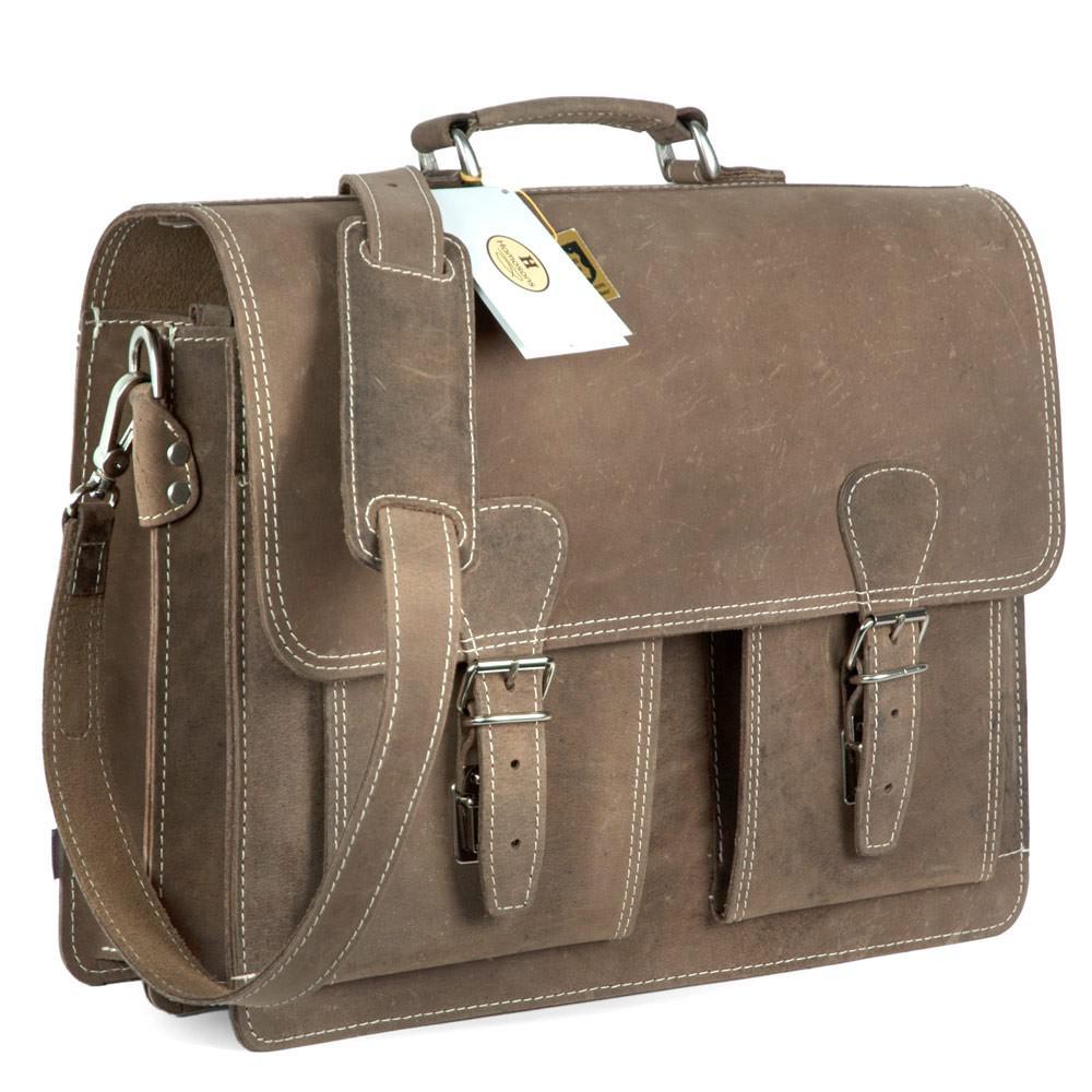 riesige Auswahl an Geschäft 100% echt Hamosons - Klassische Aktentasche / Lehrertasche Größe L aus Büffel-Leder,  Matt-Braun, Modell 600