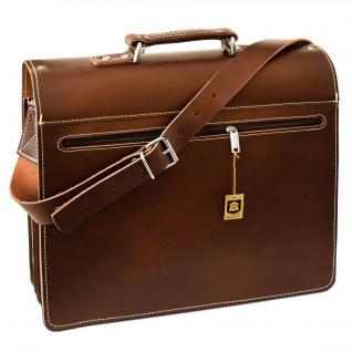 Hamosons - Große Aktentasche / Lehrertasche Größe XL aus Leder, Braun, Modell 690 - Vorschau 5