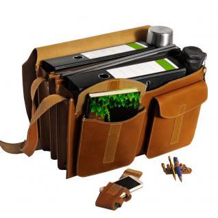 Jahn-Tasche - Sehr Große Aktentasche / Lehrertasche Größe XXL aus Leder, Cognac-Braun, Modell 677 - Vorschau 5
