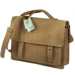 Hamosons - Mittel-Große Aktentasche / Lehrertasche Größe M aus Büffel-Leder, Creme-Beige, Modell 605 - Vorschau 2