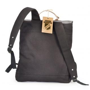 Enter - Großer stylischer Canvas Rucksack / Vintage Rucksack Größe L, Schwarz mit Grau, helles Leder, Modell 1304 - Vorschau 4