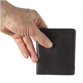 Hamosons - Kleine Geldbörse / Portemonnaie Größe S für Herren aus Leder, Hochformat, Schwarz, Modell 105