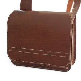 Jahn-Tasche - Umhängetasche Größe M / Messenger Bag aus Leder, Braun, Modell 680 - Vorschau 3