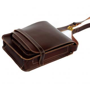 Jahn-Tasche - Herren-Handtasche Größe M / Umhängetasche aus Leder, A4 Hochformat, Braun, Modell 685